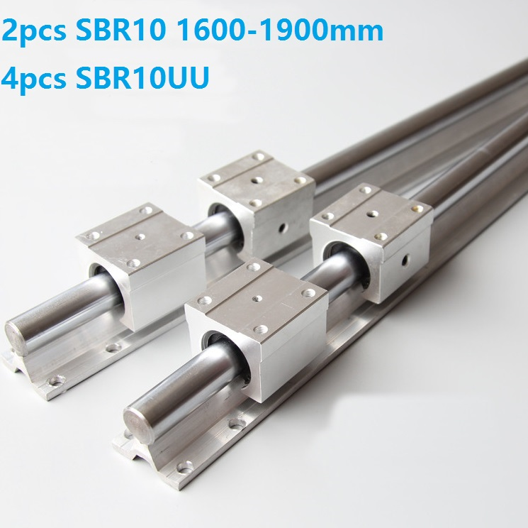 2pcs SBR10 1600mm/1700mm/1800mm/1900mm Support Rail Linear Guide + 4pcs SBR10UU Linear Sliding Bearing Blocks For CNC Router