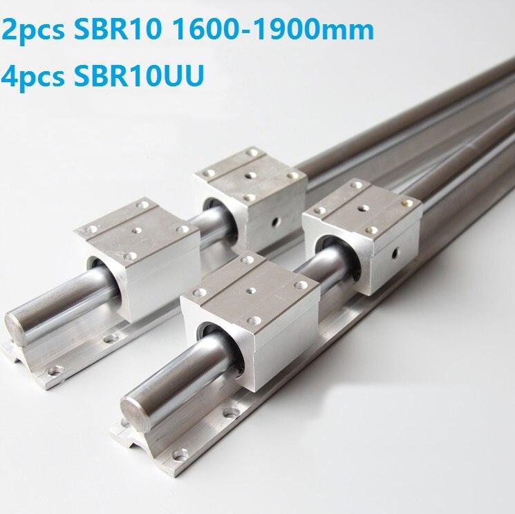 2pcs SBR10 1600mm/1700mm/1800mm/1900mm Support Rail Linear Guide + 4pcs SBR10UU Linear Sliding Bearing Blocks For CNC Router