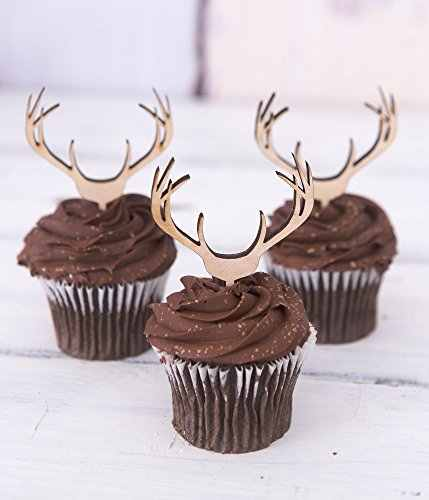 Magnificent 24Pcs Lot Cupcake Toppers Wooden Antlers Hunting Or Boho Style Funny Birthday Cards Online Elaedamsfinfo