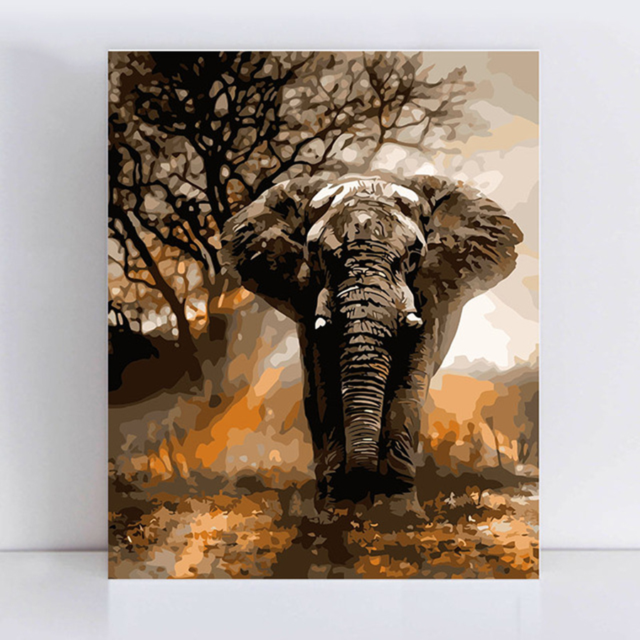 Running in the fury of an elephant paintings by numbers on canvas