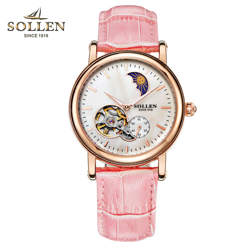 Top Brand SOLLEN Women's shell dial watches automatic self wind mechanical watch women dress fashion leather Moon Phase relogio стоимость