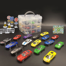 18 Pcs/set Kids Mini Parking Lot Car Toy with Sub-format Portable Storage Box Multi-functional  Drawer Toys Novelty Gifts