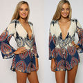 2016 Fashion New V-neck BOHO Printed Shorts Jumpsuit Beach Long Sleeve Playsuit Romper COver-up