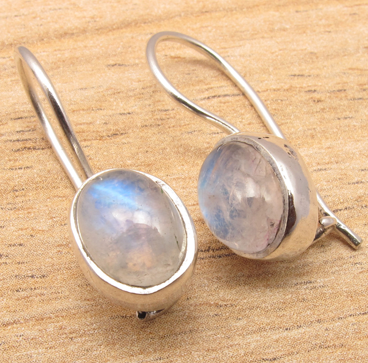 Silver Plated Blue Fired RAINBOW MOONSTONE Earrings High Quality ART Jewelry 2.3 cm серьги art silver art silver ar004dwzmh30