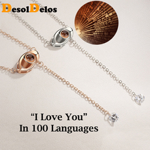 2019 New Gold Silver 100 languages I Love You Projection Pendant Necklace Eye Romantic Women Girls Lover Memory Wedding Necklace nowodvorski eye silver i zwis m