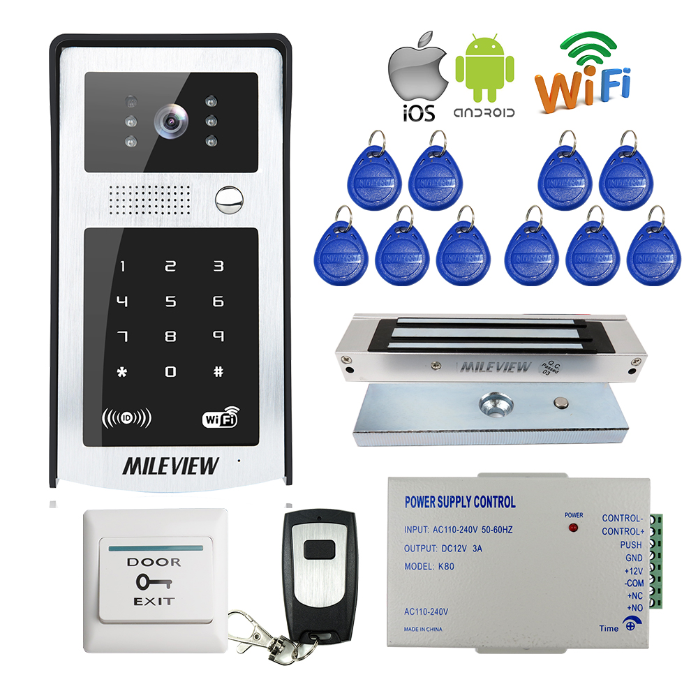 FREE SHIPPING RFID Code Keypad Wifi 720P Video Door Phone Intercom Outdoor Camera for Android IOS Phone + Electromagnetic Lock rfid reader wifi 720p hd video doorbell intercom phone camera for android ios phone with electric strike lock for door access