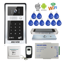 FREE SHIPPING RFID Code Keypad Wifi 720P Video Door Phone Intercom Outdoor Camera for Android IOS Phone + Electromagnetic Lock