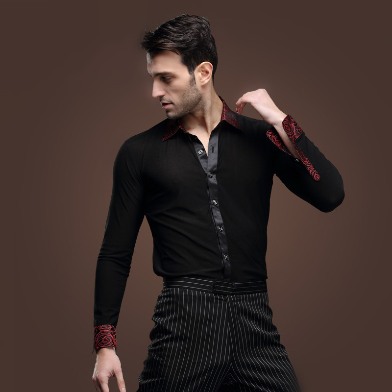 Show details for 2016 New Man Latin Dance Chacha Rumba Samba Square Dance Clothes Long Sleeve Shirt Male Adult Modern Dance Costume