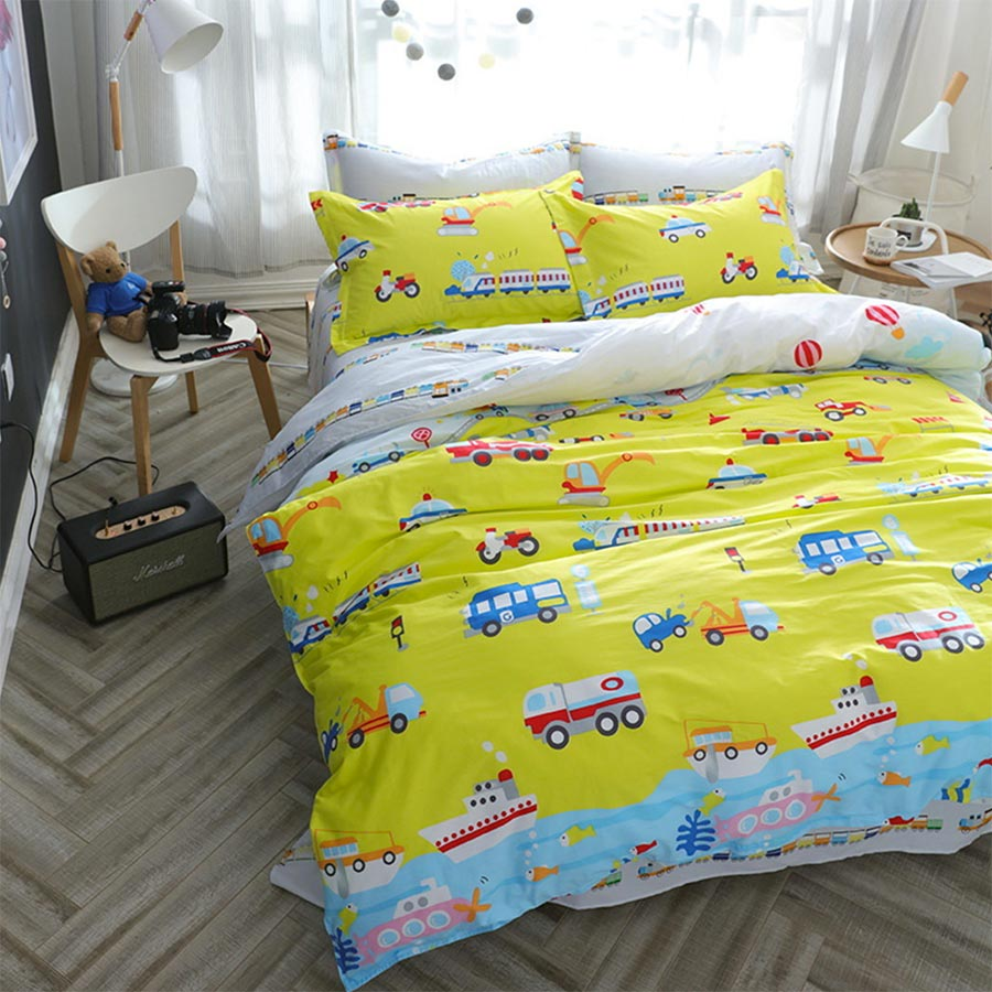 Colorful bed sheets - Character Car Bedding Set Adult Teen Kid Boy Cotton Full Queen Colorful Cartoon Home Textile