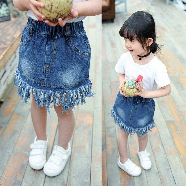 78670ba315f7 Girls Tassel Denim Skirts Summer Style Children Kids Clothes Casual ...