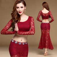 New Fashion Lace Long Sleeve O Neck Sexy Belly Dance Top Skirt 2pcs Set For Women