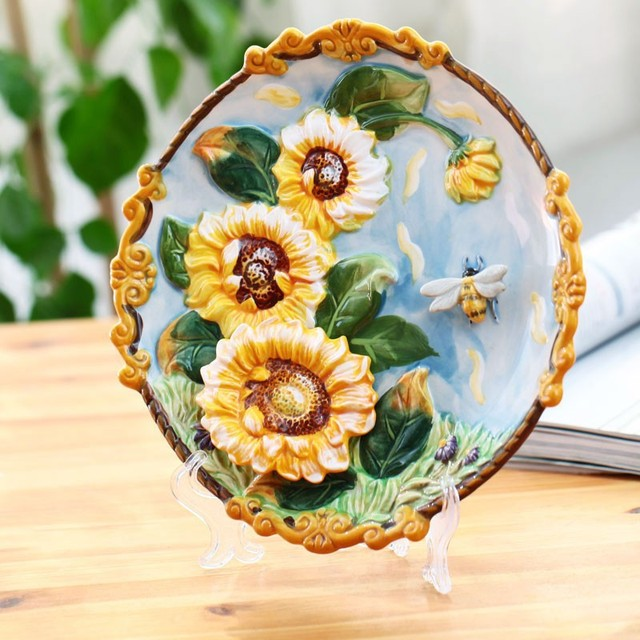 Hot Ceramic Arts Sunflower Decorative Wall Dishes Porcelain Plates Vintage Home Decro Crafts Room Decoration