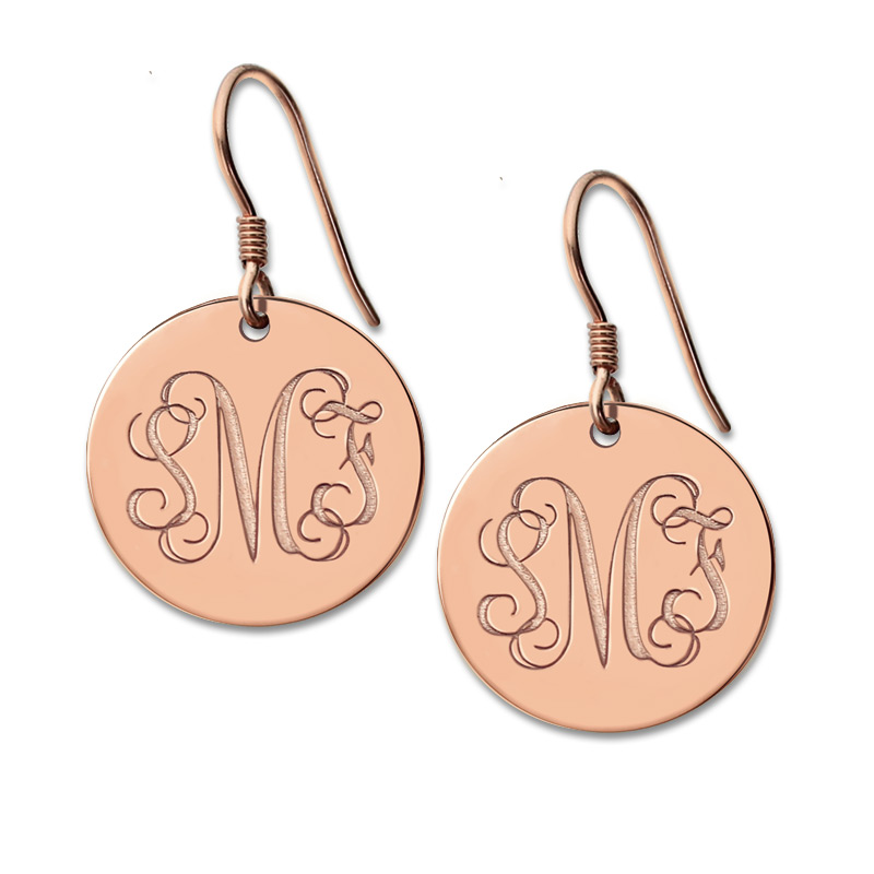 Freeshipping Personalized Round Monogram Earrings Silver Engraved Monogrammed Initials 3 Letter Nameplate Earring In Drop From Jewelry