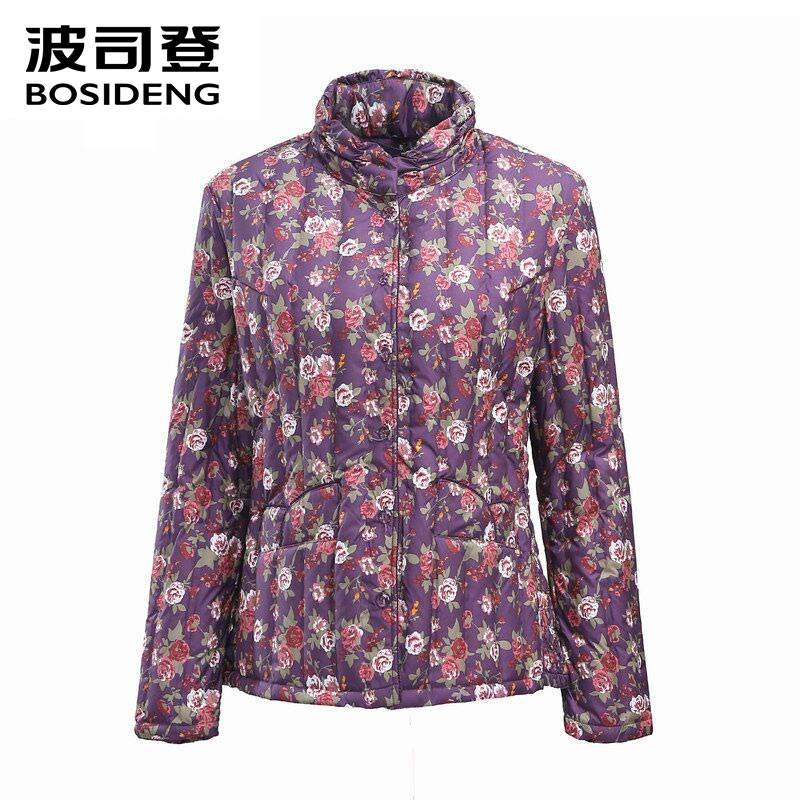 BOSIDENG women's clothing flower print down coat stand collar elderly women Chinese style big size clearance sale B1501614B
