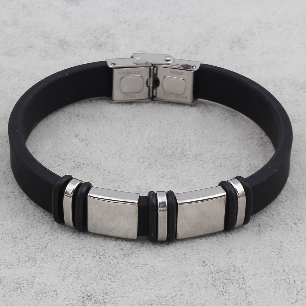 Cool Men Jewelry Mens Punk Stainless Steel Black Silicone Bracelets Button Snap Bracelets Bangle