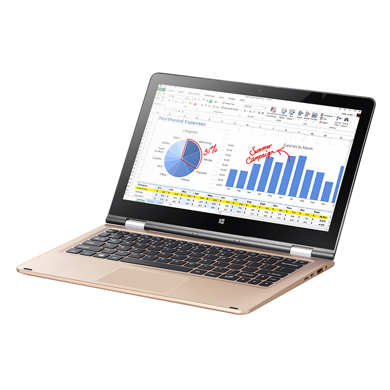 11.6 inch VOYO VBOOK Quad Core Laptop Celeron N3450 IPS Screen 4G RAM 120G SSD Tablet PC 3.7V/12000mAh Polymer Lithium Battery