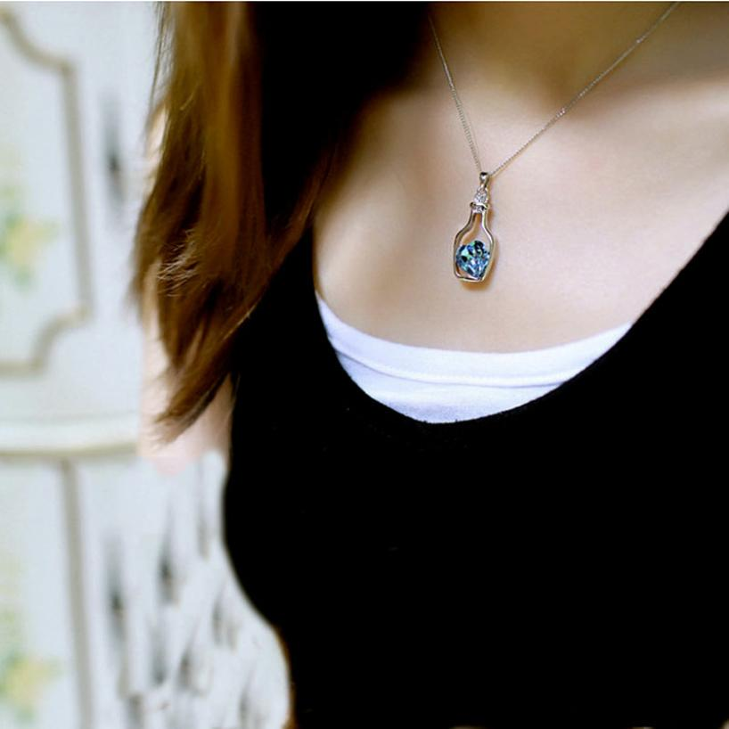 Fashion Popular Crystal Necklace Love Drift Bottles Hot Sale Collares Collier Jewelry