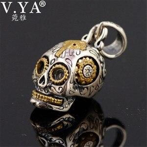 Image 3 - V.YA Punk 925 Sterling Silver Skeleton Skull Pendants Fit Necklaces for Men Women Thai Silver Pendant High Quality