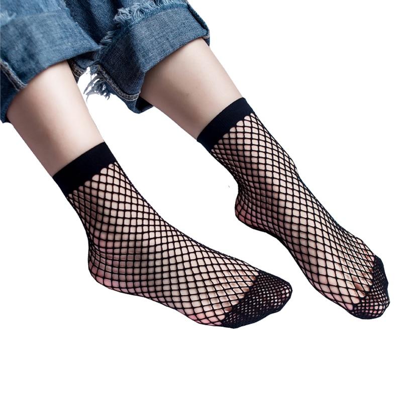 Hot Sale 1 Pair Black White Sexy Look Through Wild Fishnet Hollow Mid Calf Fashion Short Socks Women's Clothing Accessories