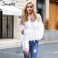 Simplee Patchwork Mesh Knitted Pullover Fashion Tassels Autumn Winter Sweater Women Casual Embroidery White Jumper Pull