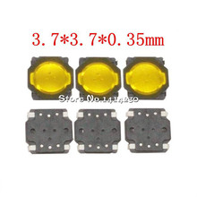 10Pcs Thin film push button switches 3.7*3.7*0.35mm SMT 4-Pin 3.7X3.7X0.35mm