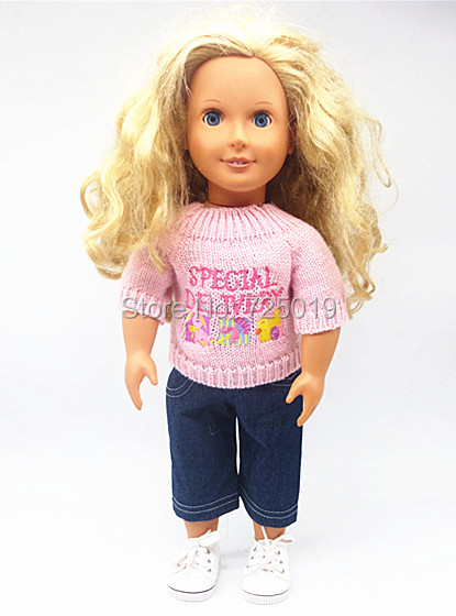 Free shipping Hot 2016 new style popular American girl dolls clothes T shirt jeans suit p62