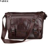100 Really Cowhide Men Shoulder Bags Business Genuine Leather Men Crossbody Laptop Bag Vintage Men Messenger