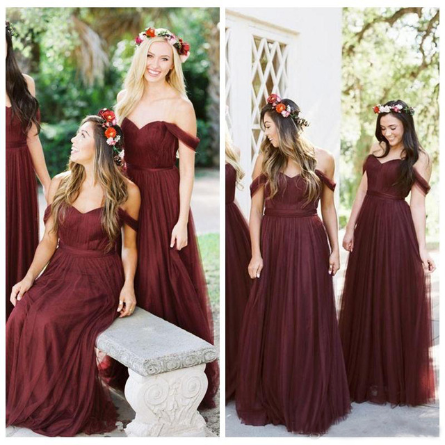Elegant A Line Off The Shoulder Long Burgundy   Bridesmaid     Dresses   2019 Sweetheart Tulle Prom   Dresses   Wedding Party Gowns