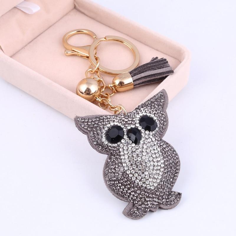 Car Keyring Full Crystal Key Holder Gold Key Chain Cute Owl Leather Tassel Keychain Pendant Porte Clef Charm Jewelry Llaveros