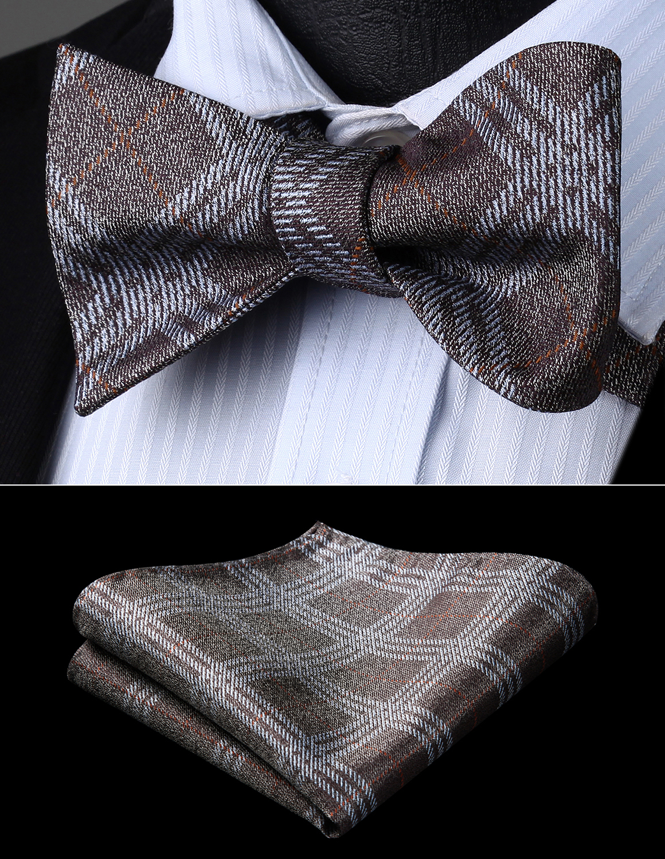 Bow Tie Handkerchief Set Men Woven Party Wedding Brown Gray Plaid & Chcek Self Bow Tie Pocket Square Set#BC923ZS