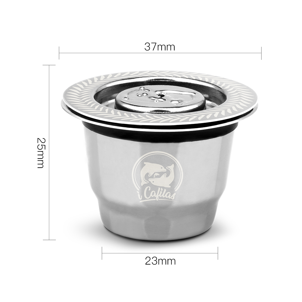 Image 3 - 2 in 1 Usage Recargables Coffee Filter Stainless Steel Nespresso Refillable Capsule 3pcs+120 Seals Reusable for Essenza Mini-in Coffee Filters from Home & Garden