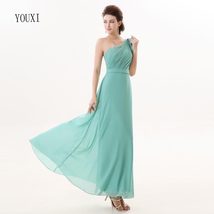 Bridesmaid     Dresses   2017 YOUXI BD012 Women's One Shoulder Light Green Padded vestidos Chiffon   Dresses