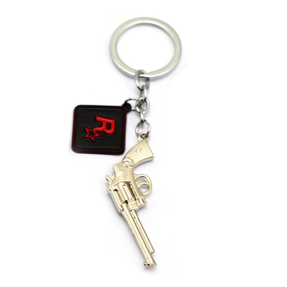 New Red Dead 2 Redemption Keychains 3D Gun For Men Car Toy Metal Key Ring Holder Key Chain Chaveiro