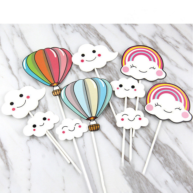 5Pc Cute Cloud Colorful Balloons Rainbow Happy Birthday Party Bachelorette Cake Topper Baby Shower Decorating ToolsQ