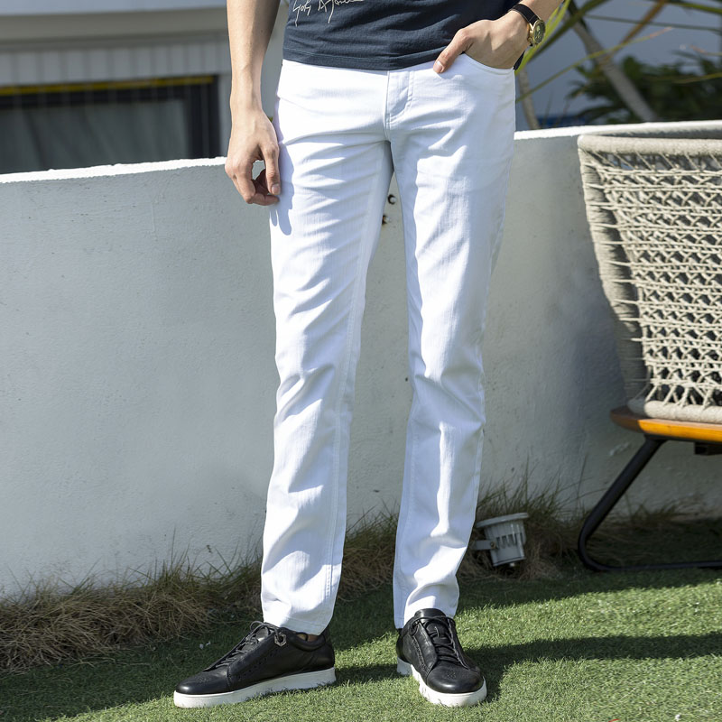 High Quality Spring Summer Casual Pants Men Long White Trousers Male Slim Fit Cotton Chi ...