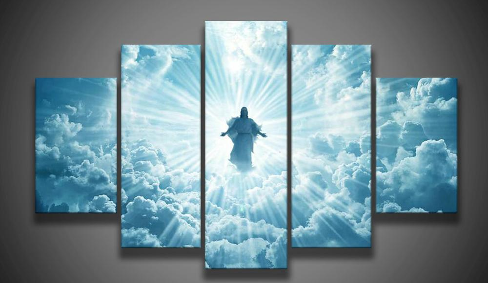 Print 5 Pcs Canvas Wall Art Print Jesus Is Coming Painting