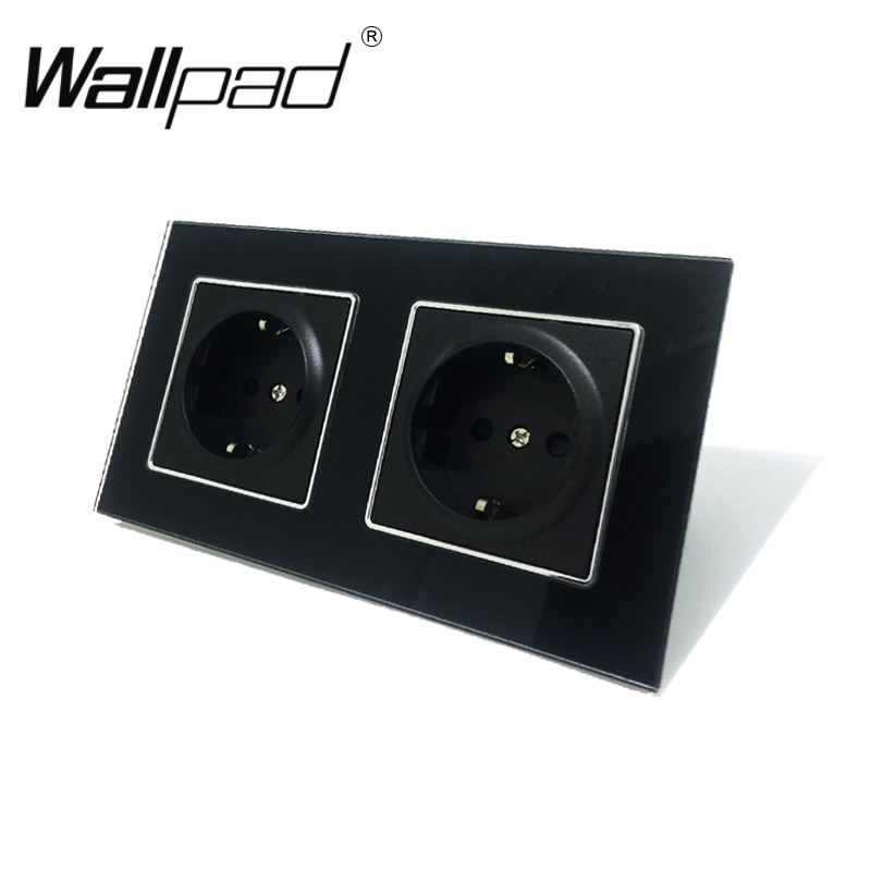 New Arrival CE Wallpad Luxury Black Crystal Glass EU European Standard 156*86mm Double 16A Plug EU German Wall Socket With Claws