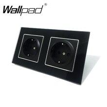 Новое поступление, CE Wallpad, роскошное черное Хрустальное стекло, европейский стандарт ЕС, 156*86 мм, двойная штепсельная вилка 16А, европейская немецкая настенная розетка с когтями