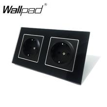 Nieuwe Collectie Ce Wallpad Luxe Black Crystal Glass Eu Europese Standaard 156*86Mm Dubbele 16A Plug Eu Duitse stopcontact Met Klauwen