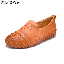 2017 Spring New  Hand Made Genuine Leather Women Flats Slip On Loafers Casual Shoes zapatos Chaussure femme