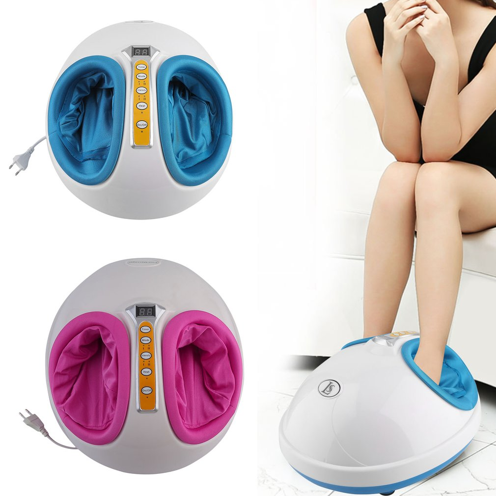 220V EU Plug Electric Antistress Heating Therapy Shiatsu Kneading Foot Massager Vibrator Foot Care Massage Machine Device Tool electric shiatsu foot massager far infrared heating kneading reflexology massage device home relaxation back massager