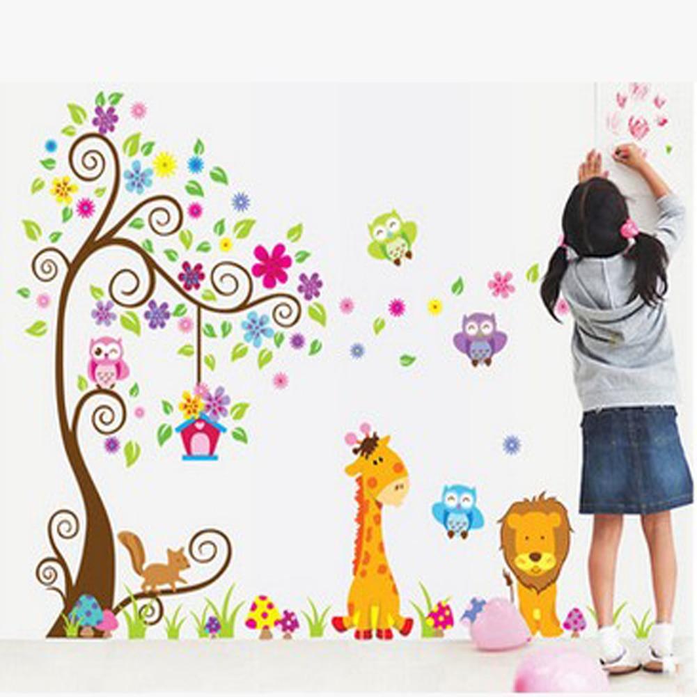 childrens bedroom Decor Lion animal Tree Vinyl Wall Stickers kids Baby children Decor Home Wall Paper Decal deco Art Sticker BS