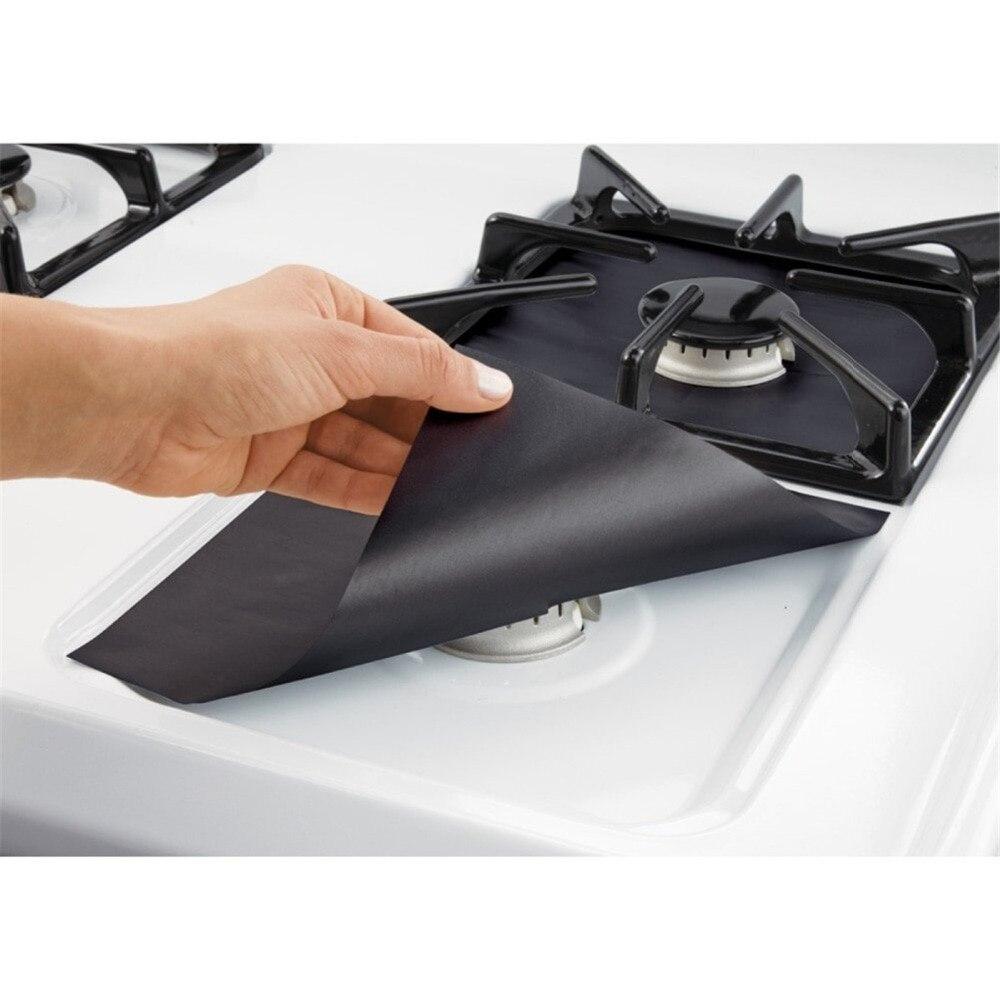 4 piezas fibra de vidrio protectores de la estufa de Gas reutilizable estufa de Gas quemador cubierta Liner Mat Pad inicio cocina herramientas Fit casi estufas de Gas