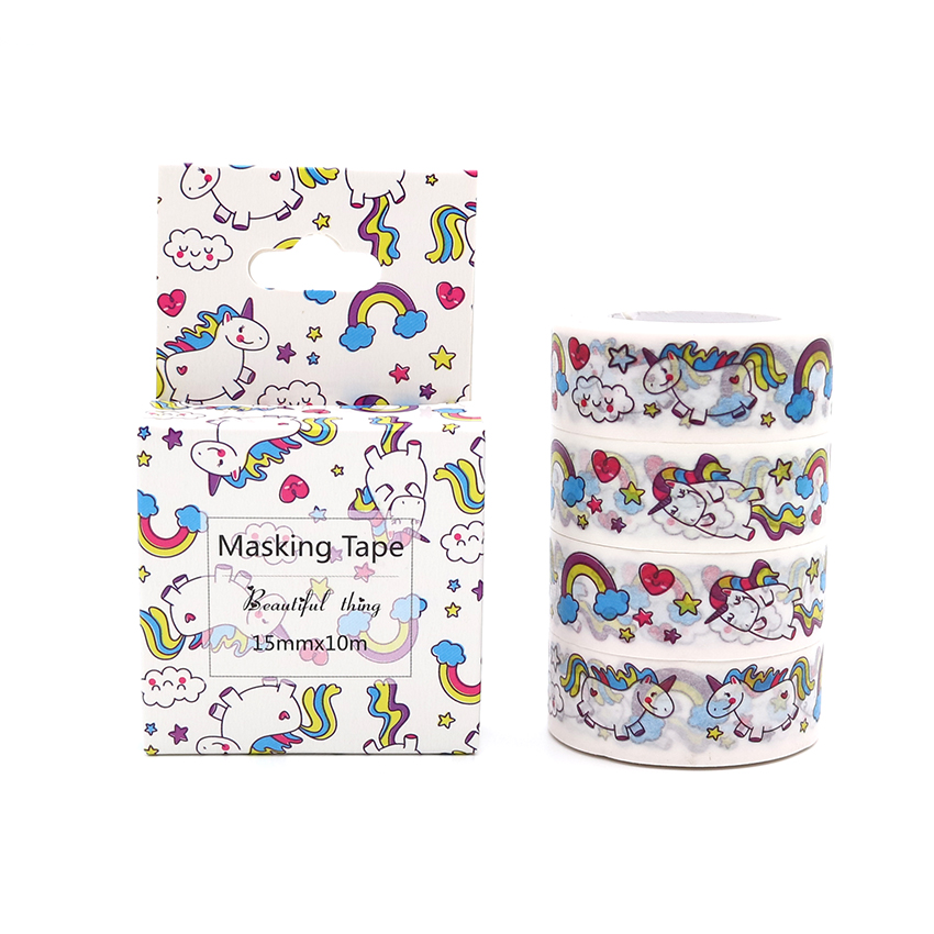 Box Package Cute Style Cartoon Rainbow Animals Unicorn Decorative Washi Tape Diy Scrapbooking Adhesive Tape School Office Supply Office Adhesive Tape