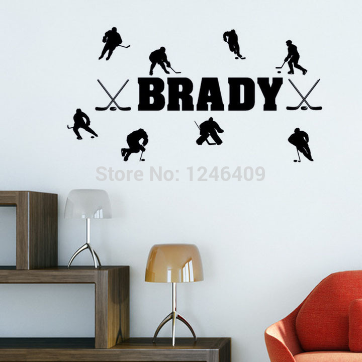 Hockey Wall Decal Large Decal Custom Name Decal Boys: Custom Made Personalized Name Match Of Ice Hockey Wall