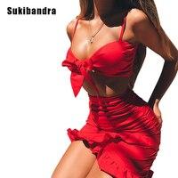 Sukibandra Yaz Seksi 2 Iki Parçalı Kadın Fırfır Plaj Elbise kılıf Bodycon Kırmızı Elbise Yüksek Bel Kısa Kolsuz Wrap Kayma elbise