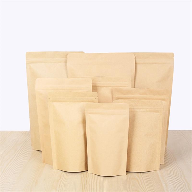 Pochette aluminisation marron fermeture à glissière Stand up papier kraft sac de papier d'aluminium refermable fermeture à glissière poignée joint de qualité alimentaire 2000 pcs/lot