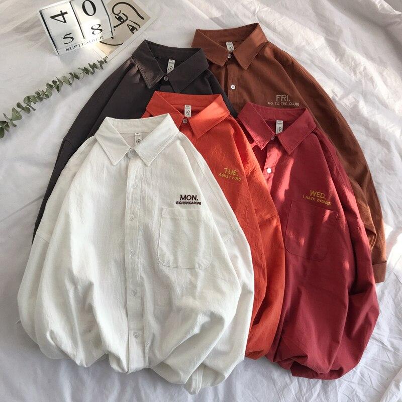 남자 솔리드 셔츠 긴 소매 2019 남자 한국 패션 월요일 자수 셔츠 남성 거리 봄 디자이너 셔츠