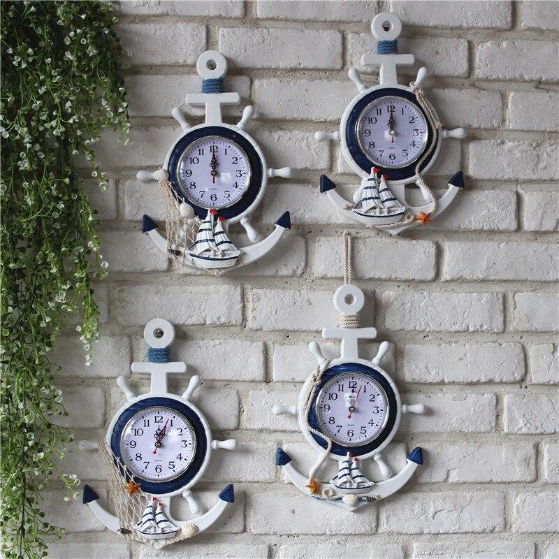 Style bleu et blanc le gouvernail ancrage barreur personnalité horloge murale horloge montres numériques nautique décoratif horloges