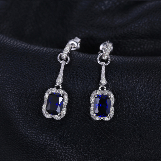 JewelryPalace Elegant Rectangle 3.7ct Created Sapphire Drop Dangle Earrings 925 Sterling Silver Brand Jewelry For Women New
